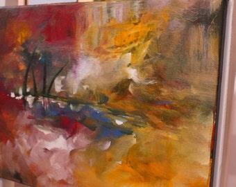 "TejasMagicColours Presents ""Silent Lake""/ Abstract original painting, acrylic on canvas"