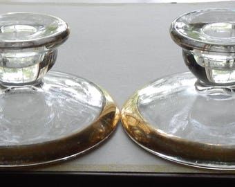 Pair of Vintage Glass Candleholders!