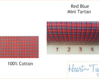Red Blue Mini Tartan Plaid 58W 100% Cotton  Yellow