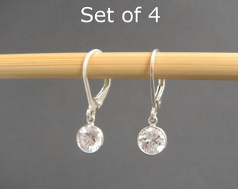 bridal earrings. Set of 4. sterling silver cubic zirconia leverback. lever back. small dangle drop. crystal. bridesmaid jewelry 6 mm CZ