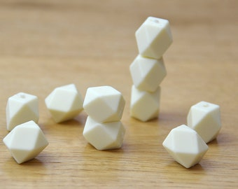Silicone Beads/CREAM 19mm Geometric Silicone beads, 10 pack