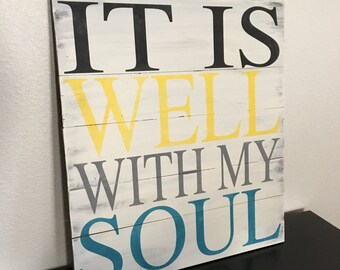 It Is Well With My Soul Rustic Pallet Sign, Religious Decor, Home Decor, It Is Well With My Soul