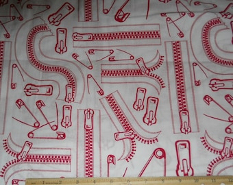 "Zippers and Safety Pins fabric 1 yard x 42"" wide new cotton"