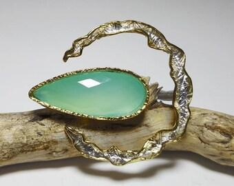 Aqua Chalcedony Ring, Natural Gemstone Ring, Aqua Gemstone Ring Silver, Big Natural Stone Ring, Aqua Ring, Aqua Chalcedony Jewelry, Big Ring
