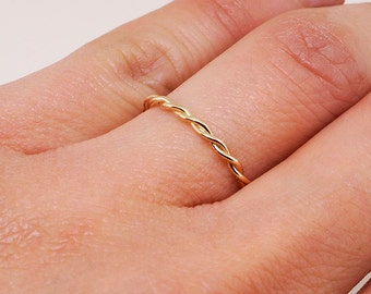 14k Gold Twisted Ring • Rose Gold Ring • Gold Stacking Ring • Rope Ring Gift for Her • Engagement Ring • Braided Ring
