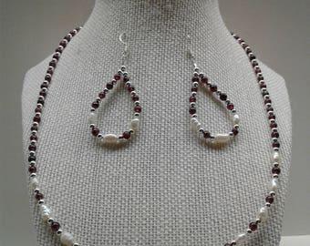 Freshwater Pearl Garnet Necklace Earring Set SW-8