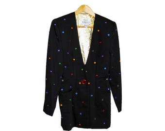 vintage black 1980s evening jacket with gold lining and multi-colour applique detail perfect for the Holidays and Christmas