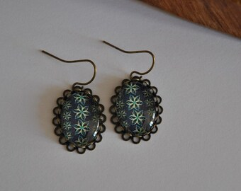 Bronze glass cabochon earrings