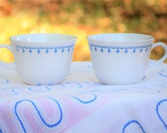 Two Corelle Blue Snowflake Garland Tea Cups // Coffee Mugs // Pyrex Matching