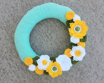 Aqua, Yellow, Green & White Fabric Wreath