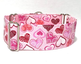 Martingale Collar, Valentines, Hearts, Martingale Dog Collar, Greyhound Collar, 1.5 Martingale, 2 inch Martingale Collar, Italian Greyhound