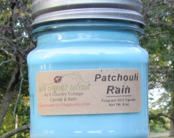 PATCHOULI RAIN SOY Candle - Earthy Fresh Clean Candle
