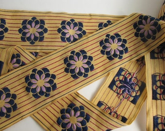 ZINNIA on PINSTRIPES embroidered fabric Jacquard trim in Navy ,lavender, wine red, on deep ecru. High end selection. 2 inches wide. 911-A