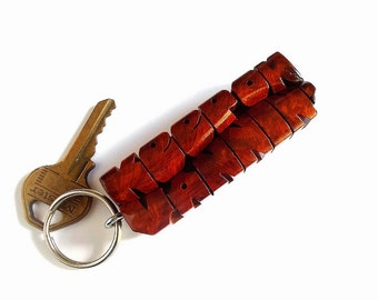 Wave Keychain in Amboyna Burl and Mahogany Wood - Custom Names Carved to Order