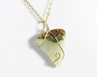 Gold-filled Gemstone Pendant, Prehnite Pendant, Green Gemstone Pendant, Gold-filled Wire Wrap Pendant, Prehnite Necklace, Green Gemstone