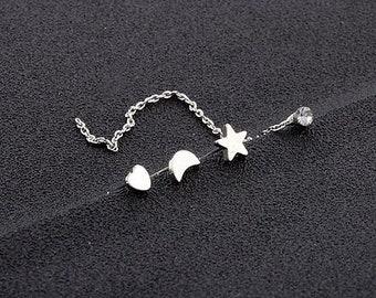 4pcs simple heart moon star rhinestone drop earrings set