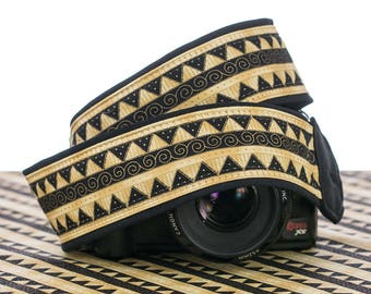 Gold Tribal Camera Strap dSLR or SLR, Southwestern, Canon camera strap, Nikon camera strap, Native American Inspired, Mirrorless, 200 w