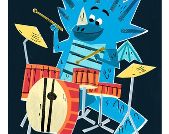 Drummer Dragon Print / Dragon Art / The Fire Starters/ Musical Dragons/ Drums