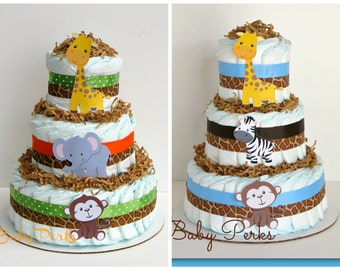 Jungle Diaper Cake, Jungle Baby shower , Baby Shower Decorations