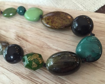 Long vintage beaded necklace - beautiful shades of turquoise, brown and greens - large beads, multi-shaped, multi-sized