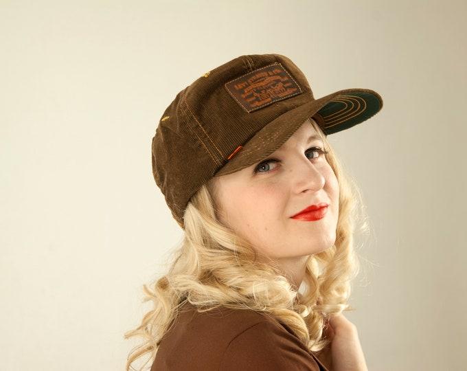 Vintage Levi's hat, brown corduroy orange tab trucker's cap, leather patch rare collectible unisex mens 1970s retro NOS