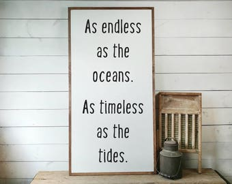 Endless As The Oceans, Timeless As The Tides FREE SHIPPING, Wedding Gift, Beach House Sign, Beach House Gift, Wooden Sign PS1085