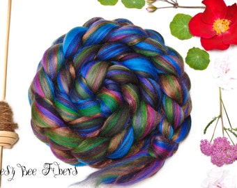 PEACOCK - Custom Blend Merino and Bamboo Combed Top Wool Roving for Spinning or Felting - 4 oz