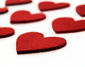 Felt crafts wool felt   Felt Heart for craft and embellishment 25 pieces perfect shape thick heart for use any crafting projects red felt