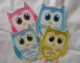 Unique Personalized Baby Shower Owl 2 Invitations with Envelopes
