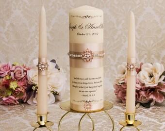 Rose Gold Unity Candle Set, Champagne Unity Candle Set, Monogram Unity Candles, Champagne Wedding Candles, Rose Gold Wedding Candles