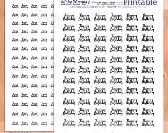 Happy Birthday Sticker Set, Printable Planner, diy Erin Condren, Daily Planner, Filofax, Midori, cricut, silhouette, Word art, functional