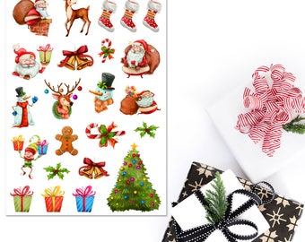 Watercolour Santa Claus Planner Stickers | Christmas Stickers | Watercolour Christmas | Santa Claus Stickers | Reindeer Stickers (S-292)