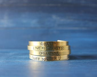 Mantra cuff bracelet Inspirational brass bangle Personalized handstamped jewelry 6mm