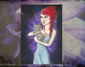 Greeting Card - Blank Inside Cat Kitten Red Hair Night Dress Real Life Alice in Wonderland Fantasy Dark Rocker Purple Art