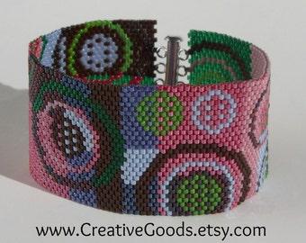 Geometric Patchwork Bracelet Pattern - Peyote Pattern