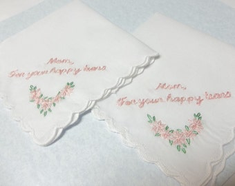 Blush pink , mother of bride, mother of groom, wedding handkerchiefs, set of 2,hand embroidered, daisy emblem, scallop edged hanky, favors