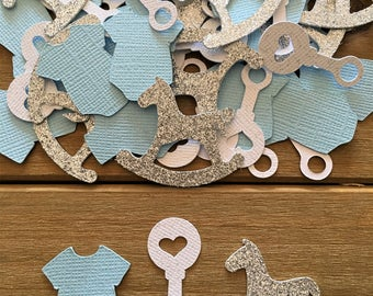 Blue Baby Shower Confetti, Rocking Horse Confetti, It's a Boy, Blue Onesie Confetti, Rattle Confetti, Silver Confetti, Boy Baby Shower