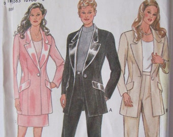 New Look 6410, Misses size 6 to 16, Skirt Suit or Pants Suit, Tuxedo Style Jacket, Narrow Leg Pants, Below The Hip Jacket,Sewing Pattern