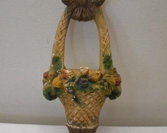 Vintage Chalkware Hanging Flower Basket Wall Pocket