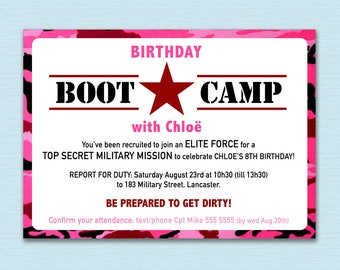 BOOT CAMP Party Invite - GIRL
