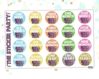 Soda Free Tracker Stickers Soda Free Milestone Achievements