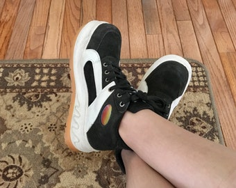 80s Rolley Platform Sneakers in Black Suede, Holographic CLUB KID Rave Aesthetic Shoes Women's US Size 6