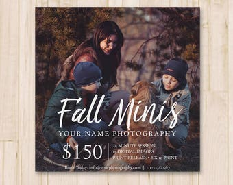 Fall Mini Sessions Template - Social Media Booking Ad, Fall Minis Template, Photography, Photographer, Photoshop Template *INSTANT DOWNLOAD*