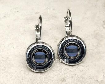 Camera lens earrings, camera earrings, camera jewelry, photography earrings HG200LB