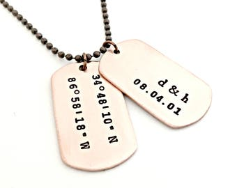Personalized Copper Dog Tags - Mens GPS Dog Tag Necklace - Custom Hand Stamped Couples Necklace - Initials, Anniversary Date, Coordinate Tag