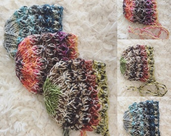 Newborn size knit round back bonnet,photo prop,gift idea,coming home,christmas,fall,ready to ship