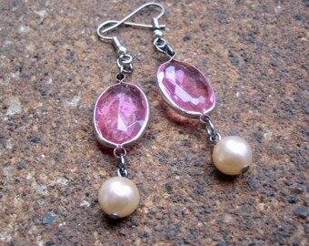 Eco-Friendly Dangle Earrings for Pierced Ears - Love Potion - Recycled Vintage Bezel-Set Rose Pink Crystals and Creamy White Glass Pearls