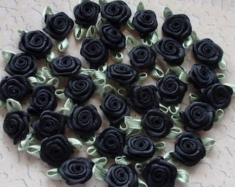 30 Mini Handmade Ribbon Roses (1/2 inch With Leaf Size 1 inch) In Black MY-021 - 010 Ready To Ship