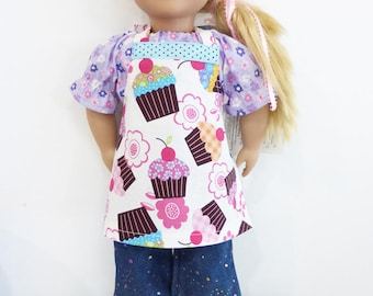"""18"""" Doll Size Apron, Cupcake Print, American Girl Doll Clothes, Custom made Apron, Pink Cupcakes, Doll Chef Apron, Matching Aprons Doll Gift"""