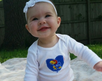 Baby Heart Snap Bodysuit with KU fabric